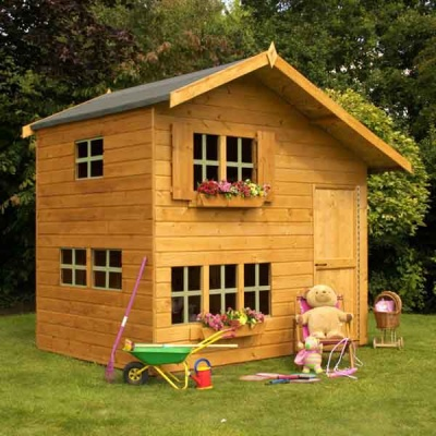 8 x 6 Double Storey Wooden Playhouse Childs Play House