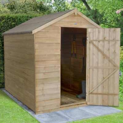8 x 6 Pressure Treated Windowless Wooden Overlap Apex Garden Shed