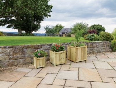 NEW HOLYWELL PLANTER SMALL WOODEN PRESSURE TREATED (0.37 x 0.37 x 0.4m)