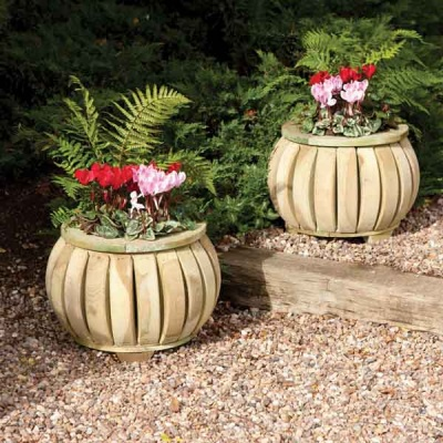 Rowlinsons Wooden Garden Marberry Ball Planters (x2)