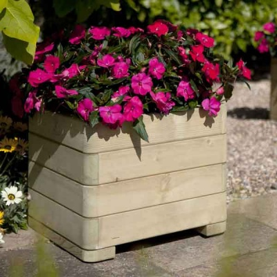 Rowlinsons Wooden Marberry Square Garden Planter