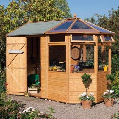 10 x 7 Rowlinsons Wooden Garden Potting Shed Store