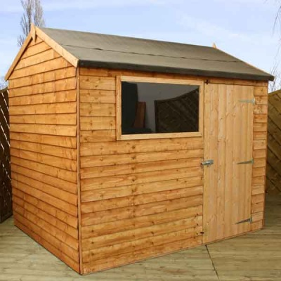 8 x 6 Reverse Apex Wooden Overlap Garden Shed