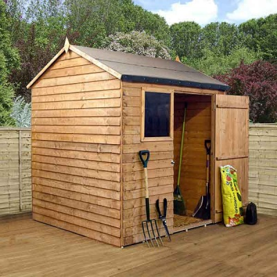 6 x 6 Reverse Apex Wooden Overlap Garden Shed