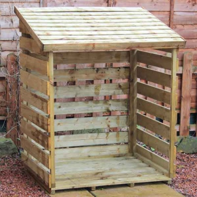 4 x 3 Wooden Logstore Pressure Treated Timber Single Log Store