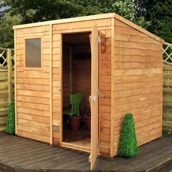 7x5 pent garden shed single door wooden sheds overlap clad