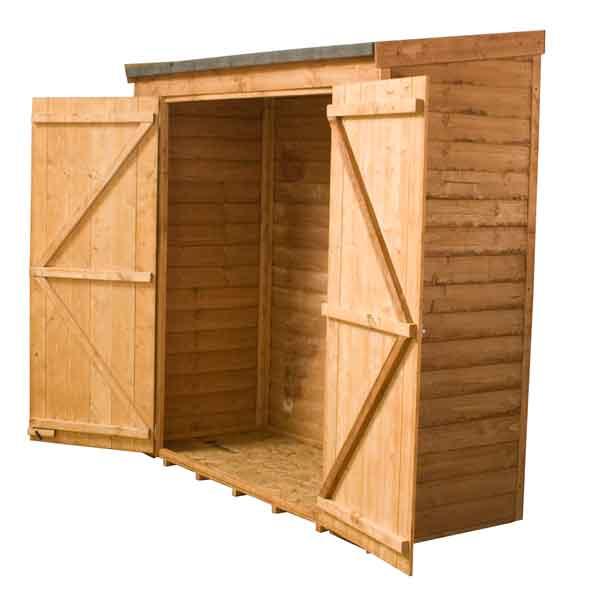 6 x 26 wooden garden pent overlap storage