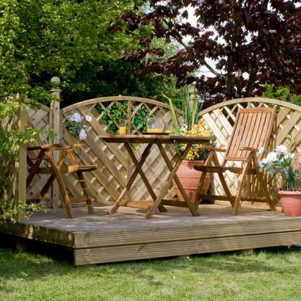 Great value sheds summerhouses log cabins playhouses for Garden decking kits uk