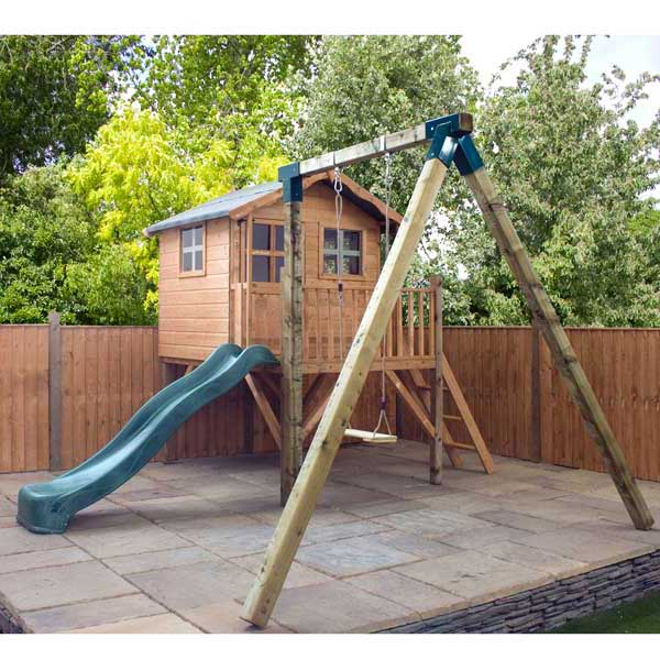 Wooden playhouse kids wood wendy den play house child for Childrens playhouse with slide and swing
