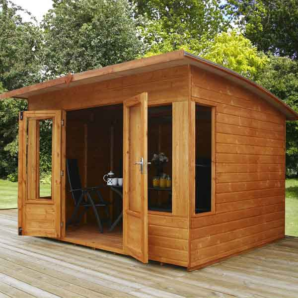 8 x 8 contemporary helios wooden garden summerhouse curved roof