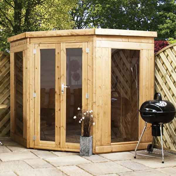 7 x 7 tongue groove wooden garden corner summerhouse