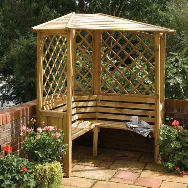 Details About Rowlinson Balmoral Corner Arbour 5ft Pressure Treated Wood Garden Seat Bench