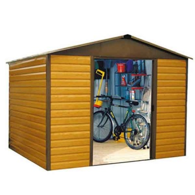 12 x 10 Yardmaster Metal Apex Wood Grain Garden Shed