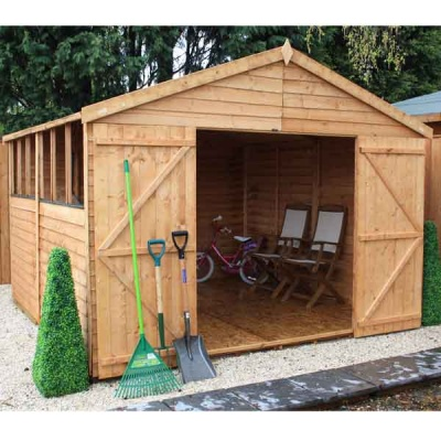 10 x 10  Overlap Apex Wooden Garden Shed Workshop