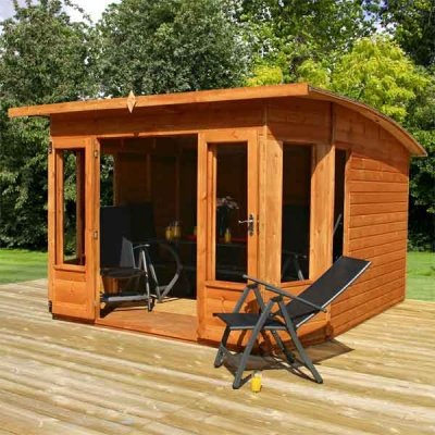 10 x 10 Contemporary Helios Wooden Garden Summerhouse Curved Roof