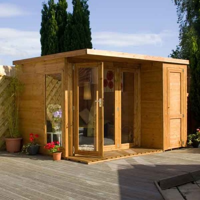 10 x 8  Wooden Garden room Summerhouse with side shed