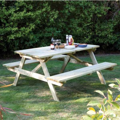 Rowlinsons 4ft Pressure Treated Garden Picnic Bench