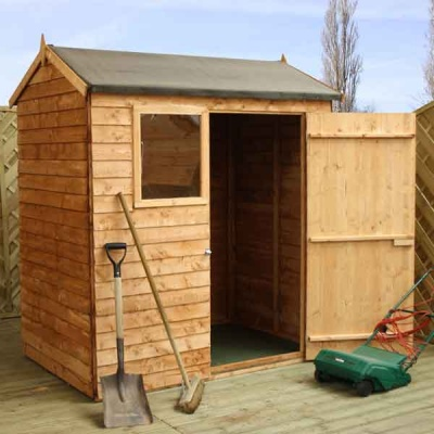 6 x 4 Reverse Apex Wooden Overlap Garden Shed