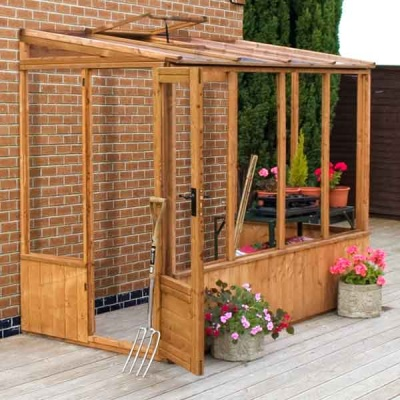 8 x 4 Wooden Pent Lean To Greenhouse Unit