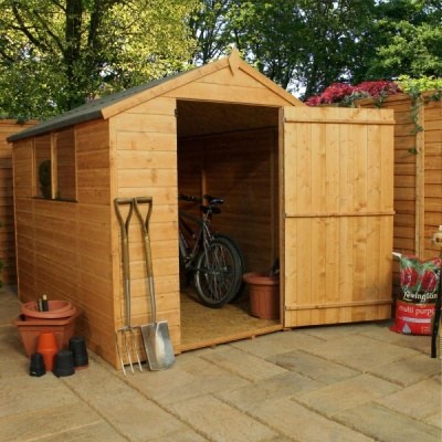 8 x 6  Shiplap Tongue & Groove Apex Wooden Garden Sheds  Large Door