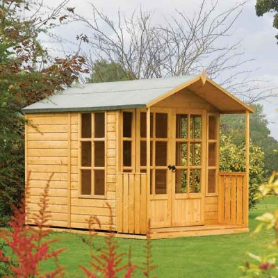 10 x 7 Rowlinsons Arley Wooden Garden Summerhouse with Veranda