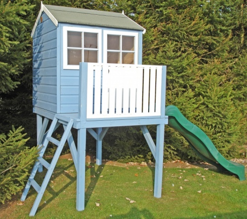 CHILDRENS WOODEN WENDY PLAYHOUSE KIDS SLIDE GARDEN WINDOW LADDER PLATFORM HOUSE