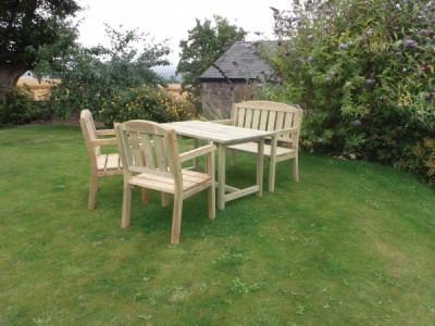 NEW CAROLINE TABLE BENCH & CHAIR SET WOODEN PRESSURE TREATED 1.6x2.06x0.94m