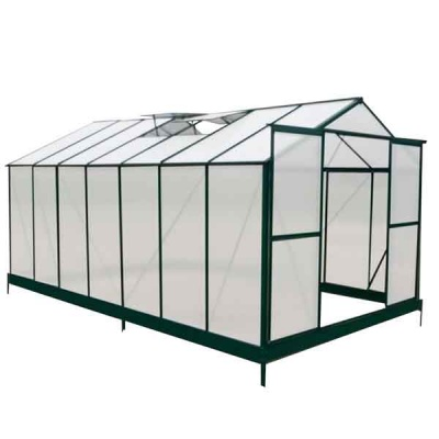 14 x 8 Green Aluminium Framed Greenhouse - with FREE Base!