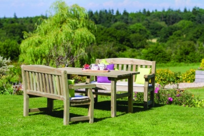 NEW EMILY TABLE & 2 BENCH SET WOODEN PRESSURE TREATED (1.6 x 2.06 x 0.945m)