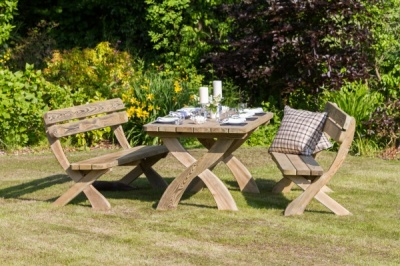 NEW HARRIET TABLE & 2 BENCH SET WOODEN PRESSURE TREATED (1.6 x 2 x 0.89m)