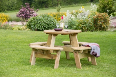 NEW KATIE ROUND PICNIC TABLE WOODEN PRESSURE TREATED (1.47 Diaeter x 0.72m)