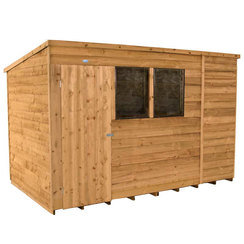 10x6' Wooden Pent Overlap Dip Treated Single Door Garden Shed Storage