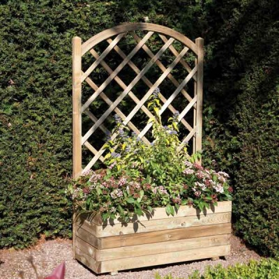 Rowlinsons Wooden Rectangular Garden  Planter & Lattice