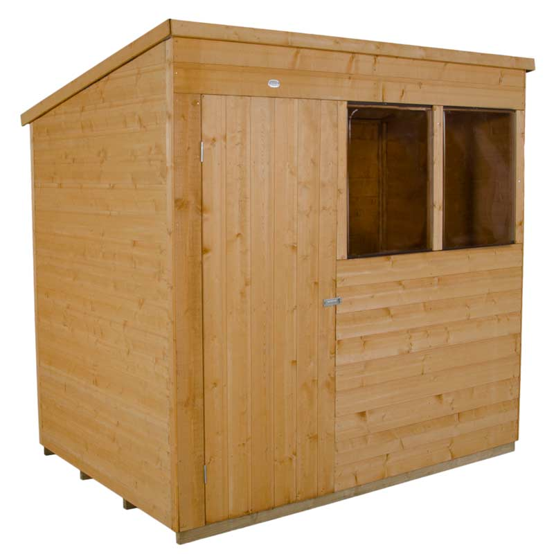 7x5' Wooden  Pent Shiplap Dip Treated Single Door  Garden Shed Storage