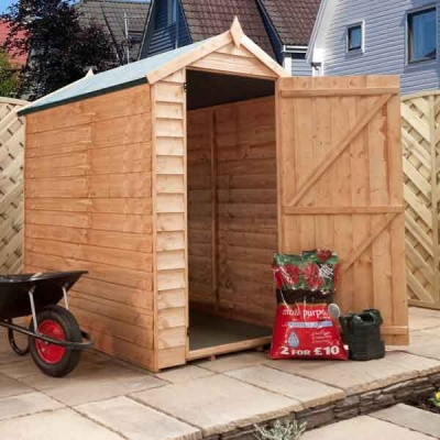 6 x 4 Windowless Overlap Single Door Apex Wooden Garden Shed