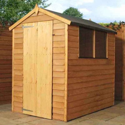 6 x 4 Overlap Single Door Apex Wooden Garden Shed