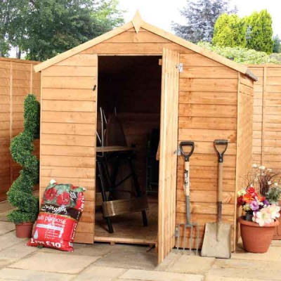 8 x 6 Budget Wooden Windowless Overlap Apex Garden Shed