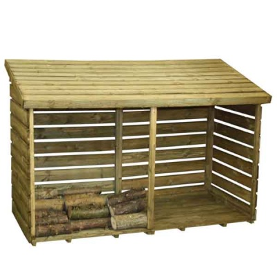 6 x 3 Wooden Logstore Pressure Treated Timber Double Log Store
