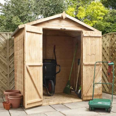 6 x 4 Shiplap Tongue & Groove Apex Windowless Wooden Garden Sheds Double Doors