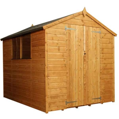 8 x 6  Shiplap Tongue & Groove Apex Wooden Garden Sheds Double Doors
