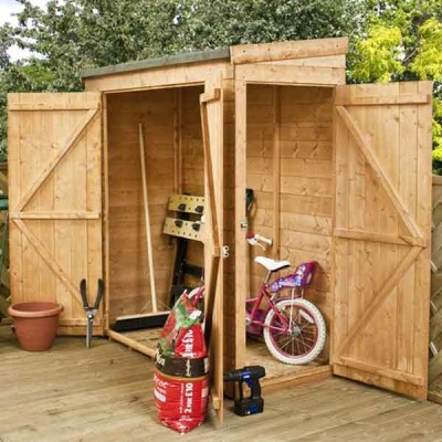 6 x 3 Wooden Pent Shed Tongue & Groove Garden Sheds Side / Front Doors