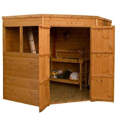 7 x 7 Corner Shiplap Tongue & Groove Wooden Garden Sheds