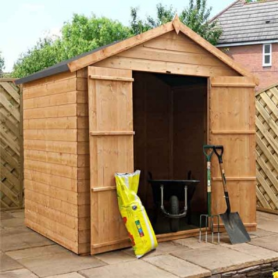 7 x 5 Tongue and Groove Apex Wooden Garden Shed Double Door