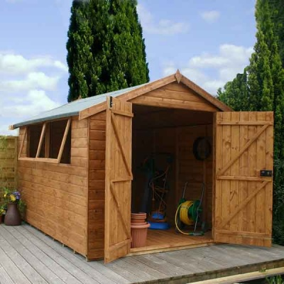 10 x 8 Shiplap Tongue & Groove Apex Wooden Garden Sheds Double Doors
