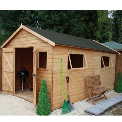 16 x 10 Shiplap Full Tongue & Groove Wooden Garden Workshop Building