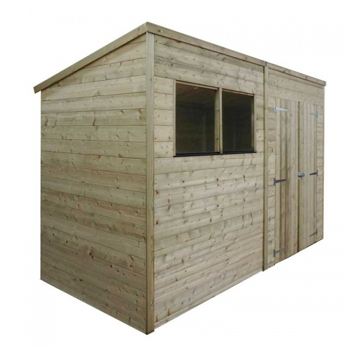 10 x 5 Shiplap Pressure Treated Pent Wooden Garden Shed Double Door