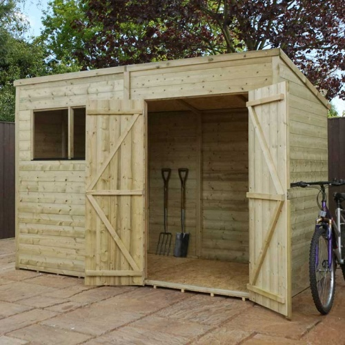 10 x 6 Shiplap Pressure Treated Pent Wooden Garden Shed Double Door