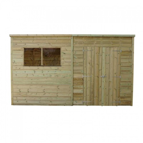 12 x 8 Shiplap Pressure Treated Pent Wooden Garden Shed Double Door