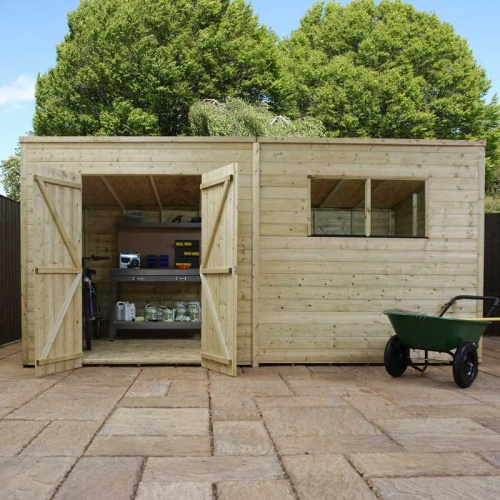 14 x 5 Shiplap Pressure Treated Pent Wooden Garden Shed Double Door