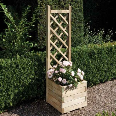 Rowlinsons Wooden Square  Garden Planter & Lattice